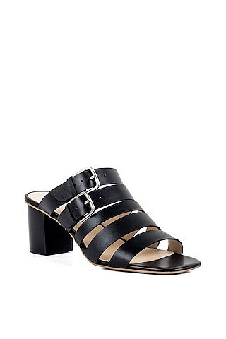 Black Strappy Sandals by VANILLA MOON