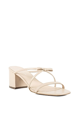 Beige Triple Strapped Sandals by VANILLA MOON