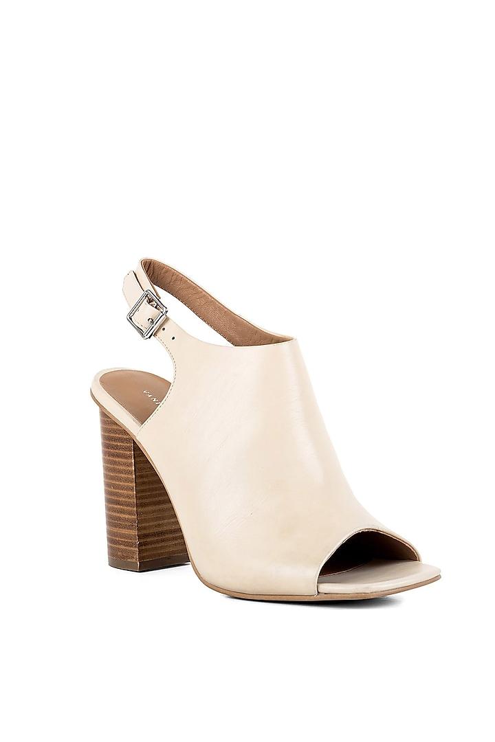 Off-White Peep-Toe Sandals by VANILLA MOON