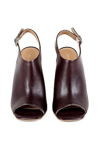 Brown Peep-Toe Sandals by VANILLA MOON