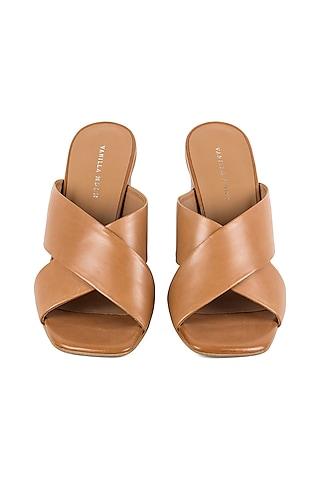 Tan Cross Strap Sandals by VANILLA MOON