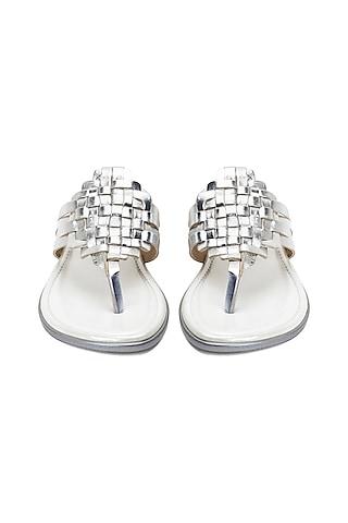 Silver Metallic Strappy Flats by VANILLA MOON