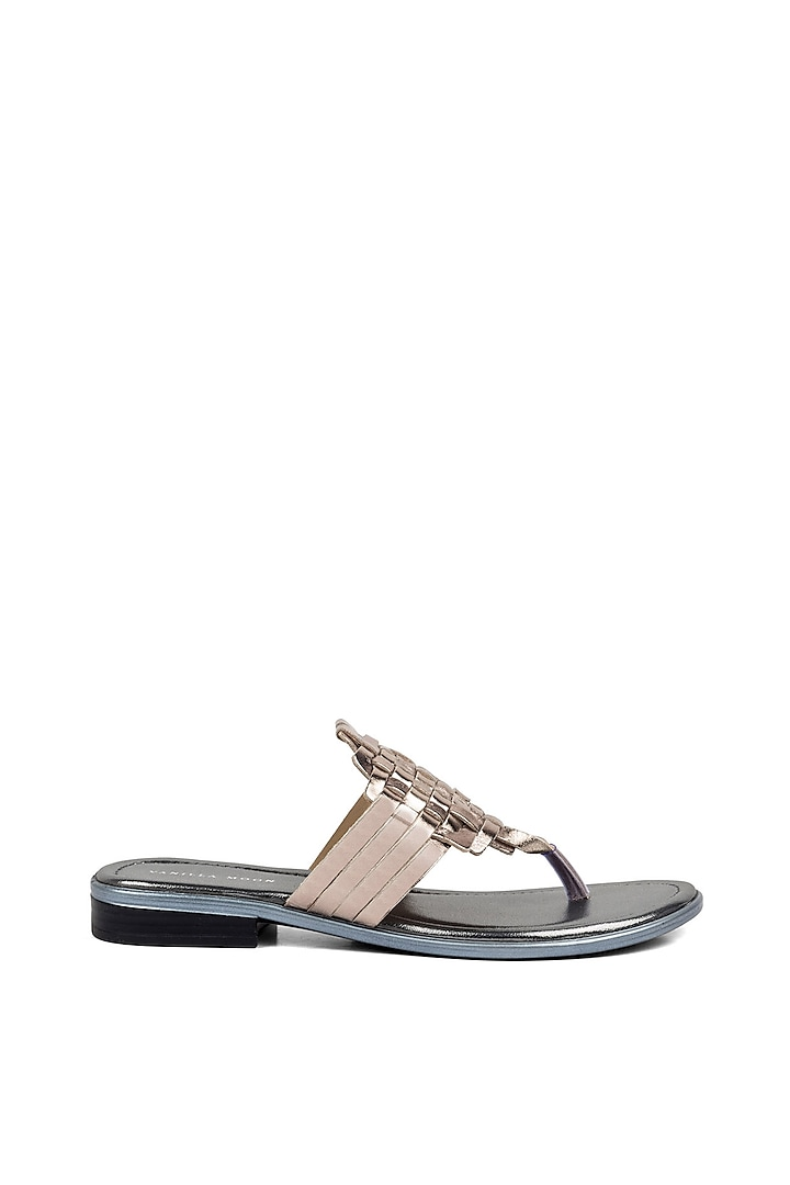Pewter Metallic Strappy Flats by VANILLA MOON
