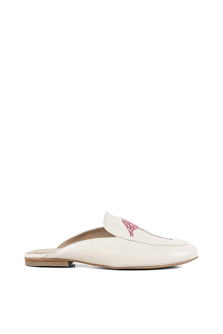 Off White Embroidered Open Back Loafers by VANILLA MOON