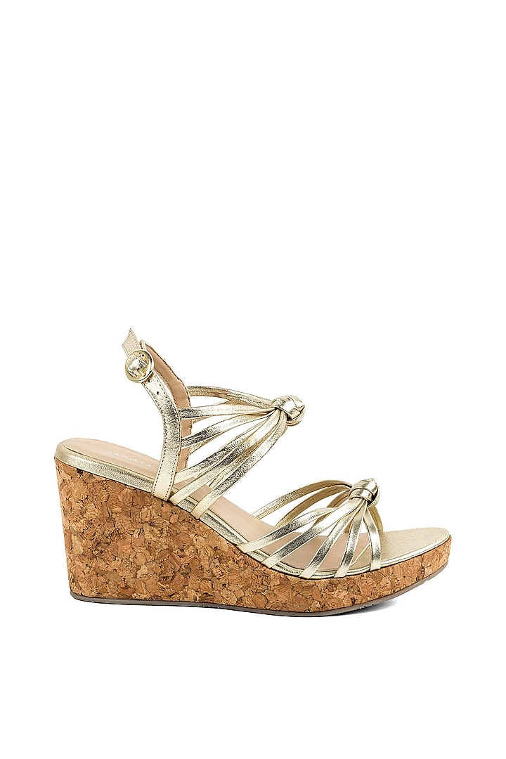 Golden Strappy Wedges by VANILLA MOON