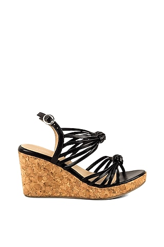 Black Strappy Wedges by VANILLA MOON