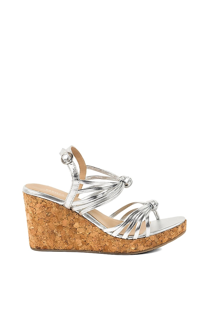 Silver Strappy Wedges by VANILLA MOON