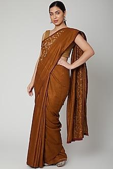 Gold Gota Embroidered Saree Set by Varastraa