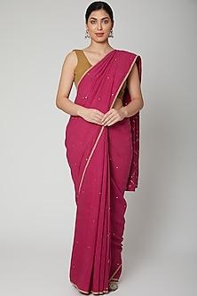 Purple Mukaish Embroidered Saree Set by Varastraa