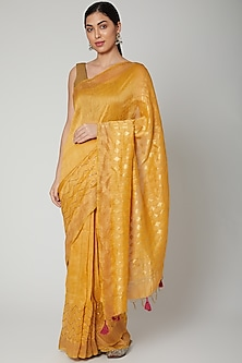 Yellow Sequins Embroidered Saree Set by Varastraa