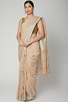Beige Embroidered Saree Set by Varastraa