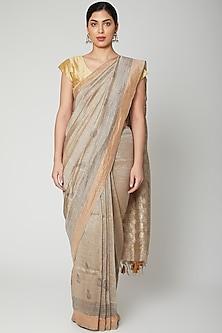 Grey Block Printed Saree Set by Varastraa