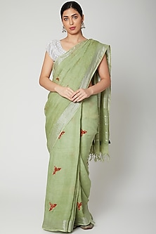 Sea Green Appliques Embroidered Saree Set by Varastraa