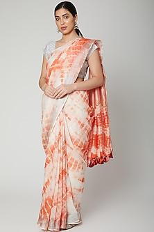 Blush Pink Tie & Dye Printed Saree Set by Varastraa