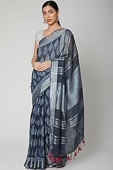 Indigo Blue Printed Saree Set by Varastraa