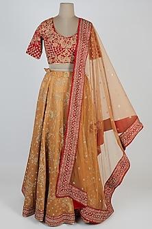 Beige & Red Embroidered Lehenga Set by Vandana Sethi