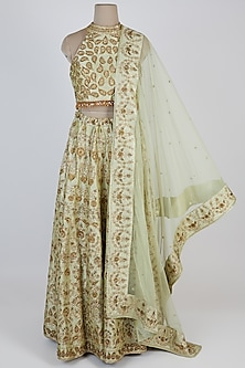 Light Green Embroidered Lehenga Set by Vandana Sethi