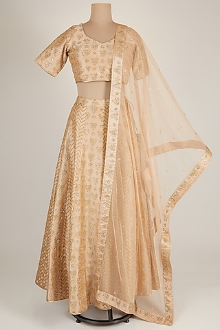 Beige Embroidered Lehenga Set by Vandana Sethi