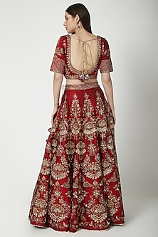 Maroon Embroidered Lehenga Set by Vandana Sethi