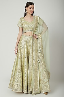 Olive Green Gota Embroidered Lehenga Set by Vandana Sethi