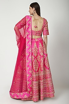 Fuchsia Embroidered Lehenga Set by Vandana Sethi