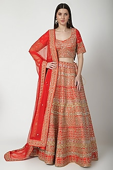 Red Aari Embroidered Lehenga Set by Vandana Sethi