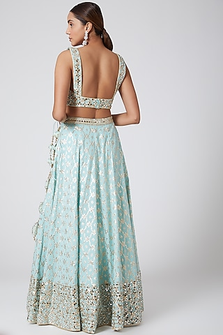 Aqua Blue Embroidered Lehenga Set by Vandana Sethi