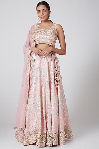 Blush Pink Embroidered Lehenga Set by Vandana Sethi