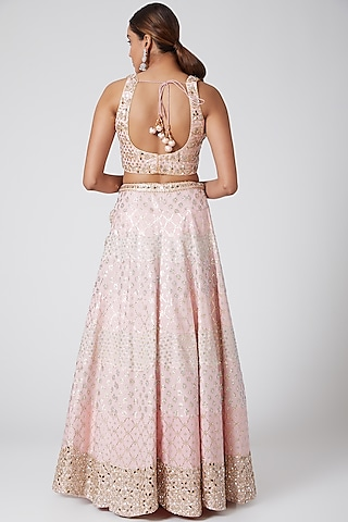 Blush Pink Embroidered Lehenga Set by Vandana Sethi