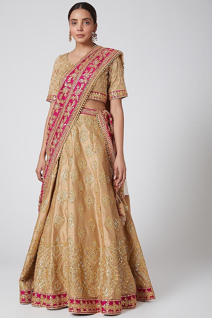 Beige & Pink Embroidered Lehenga Set by Vandana Sethi