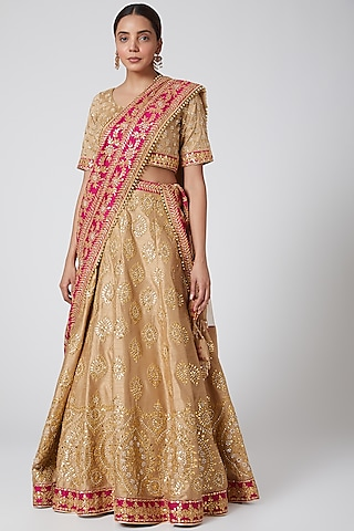 Beige & Pink Embroidered Lehenga Set by Vandana Sethi