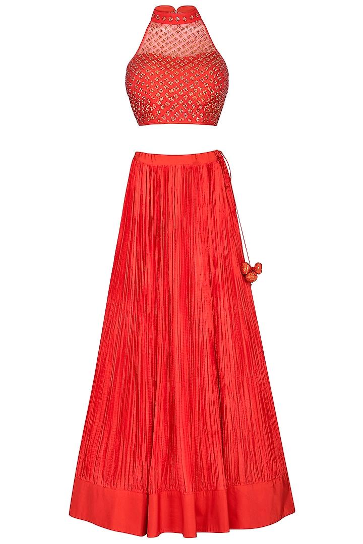 Coral Red Embroidered Lehenga Set by Vandana Sethi