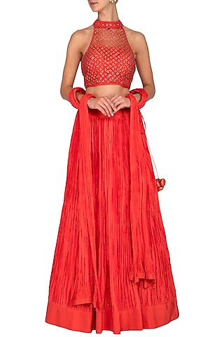 Coral Red Embroidered Lehenga Set by Vandana Sethi