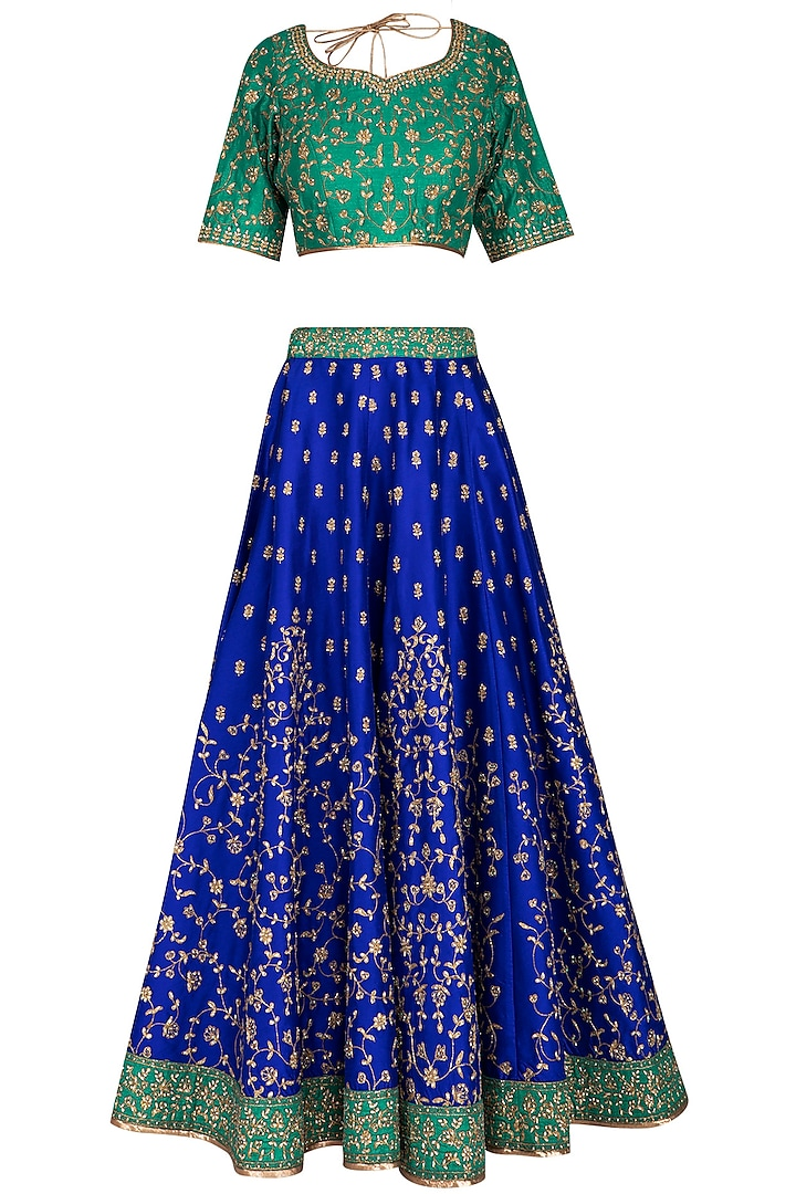 Blue & Green Embroidered Lehenga Set by Vandana Sethi