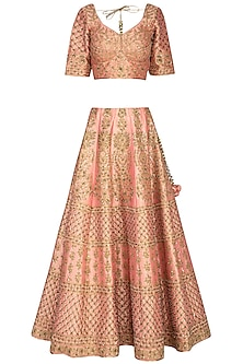 Peach Embroidered Lehenga Set by Vandana Sethi