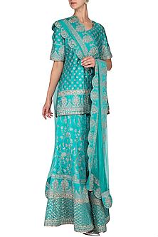 Turquoise Embroidered Sharara Set by Vandana Sethi