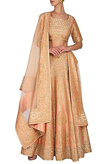 Peach Embroidered Sequins Lehenga Set by Vandana Sethi