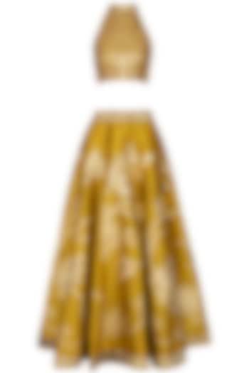 Mustard Embroidered Lehenga Set by Vandana Sethi