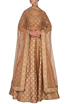 Dusky Beige Block Printed Embroidered Lehenga Set by Vandana Sethi