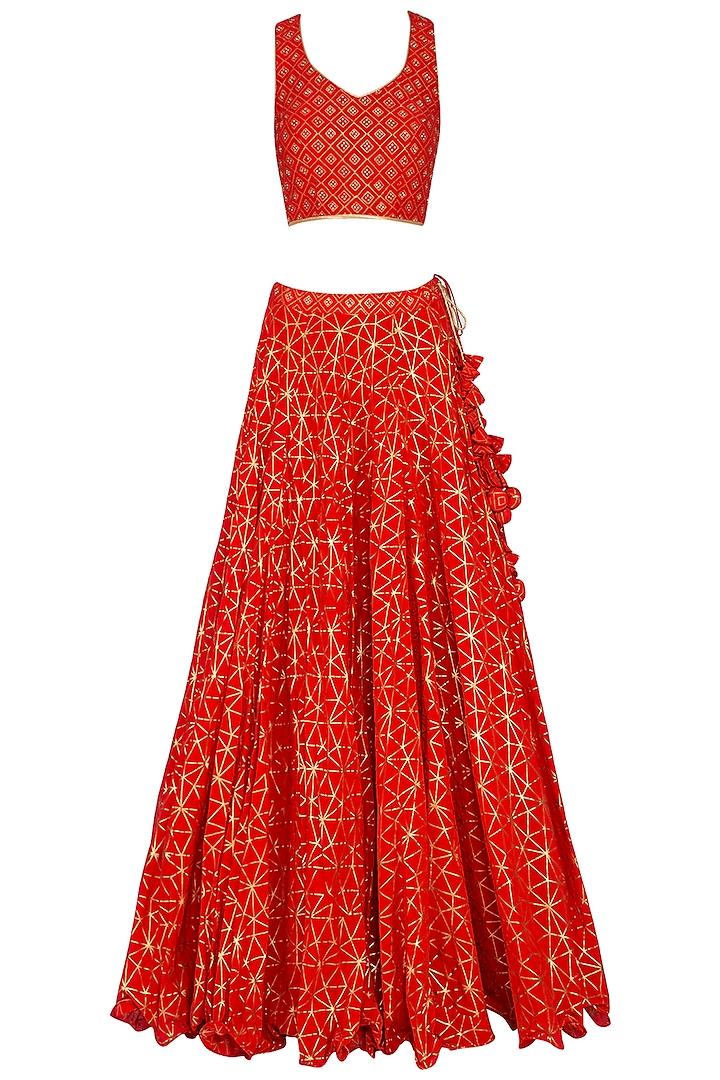 Red Block Printed Embroidered Lehenga Set by Vandana Sethi