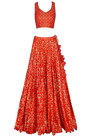 Red Block Printed Embroidered Lehenga Set by Vandana Sethi