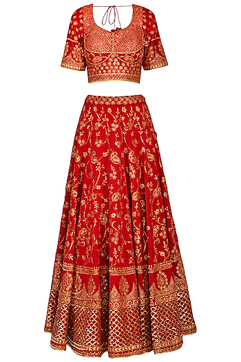 Red Embroidered Sequins Lehenga Set by Vandana Sethi