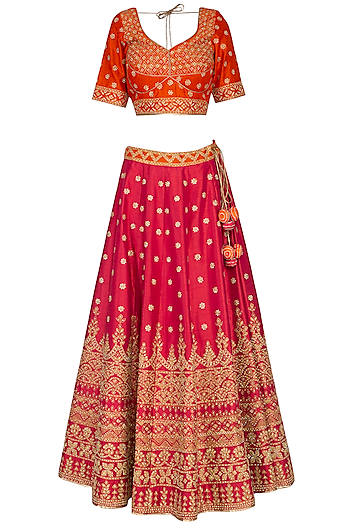 Fuschia & Orange Embroidered Lehenga Set by Vandana Sethi