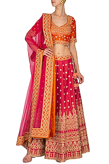 Fuschia & Orange Embroidered Lehenga Set by Vandana Sethi