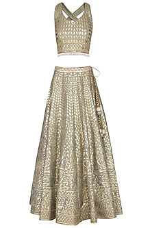 Sky Grey Leather Worked Lehenga Set by Vandana Sethi