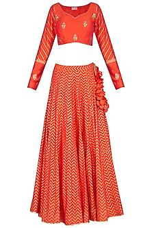 Orange Block Printed & Embroidered Lehenga Set by Vandana Sethi