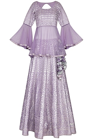 Lilac Leather Worked Lehenga Set by Vandana Sethi