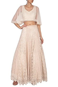 Ivory Embroidered Chikankari Lehenga Skirt with Blouse by Vandana Sethi