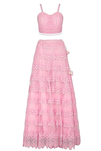 Pink Embroidered Chikankari Lehenga Set by Vandana Sethi