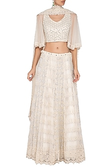 Ivory Mirror Work Embroidered Chikankari Lehenga Set by Vandana Sethi